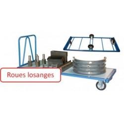 Chariot charges lourdes dossier 2000x1000 mm roues losange 1200 kg