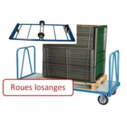 Chariot charges lourdes 2 dossiers 2000x1000 mm roues losange 1200 kg