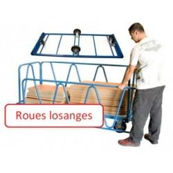 Chariot charges lourdes 2000x1000 mm ridelles dossiers roues losange